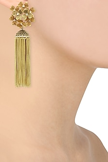 Gold Finish Textured Tassle Earrings by Auraa Trends