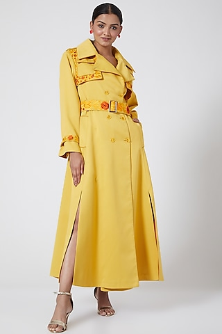 Yellow Embroidered Overcoat With Belt by Ava Designs