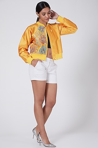Yellow Embroidered Bomber Jacket by Ava Designs