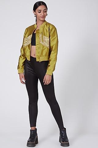 Mustard Embellished Bomber Jacket by Ava Designs