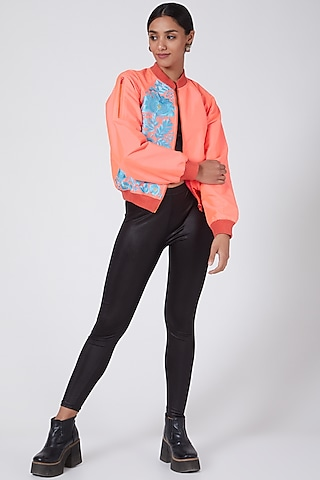 Pink Embroidered Bomber Jacket by Ava Designs