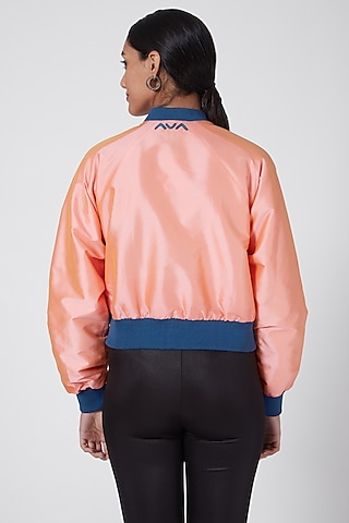 Pink & Blue Embroidered Bomber Jacket by Ava Designs