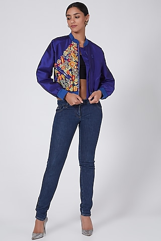 Royal Blue Embroidered Bomber Jacket by Ava Designs
