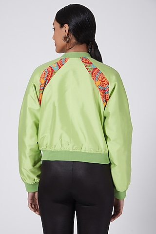 Green Embroidered Bomber Jacket by Ava Designs