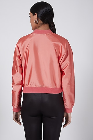 Light Pink Embroidered Bomber Jacket by Ava Designs