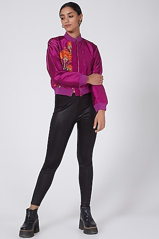 Purple Embroidered Bomber Jacket by Ava Designs