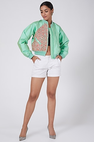 Light Green Embroidered Bomber Jacket by Ava Designs