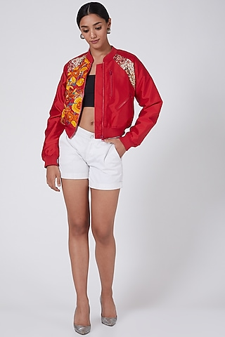 Red Embroidered Bomber Jacket by Ava Designs