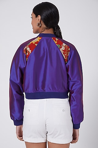 Purple Hand Embellished Bomber Jacket by Ava Designs