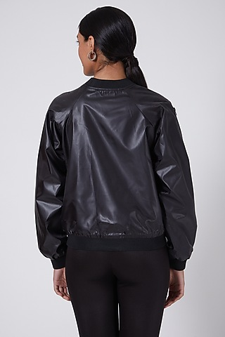 Black Satin Embroidered Bomber Jacket by Ava Designs