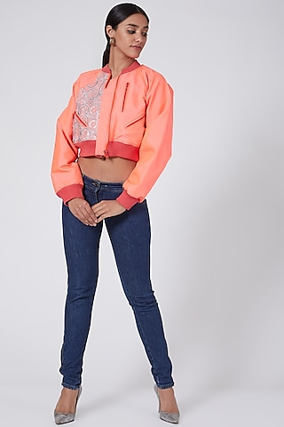 Pink Taffeta Embroidered Bomber Jacket by Ava Designs