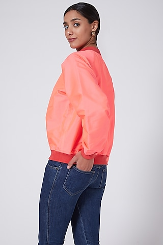 Pink Bomber Jacket by Ava Designs