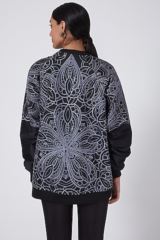 Black Taffeta Embroidered Bomber Jacket by Ava Designs