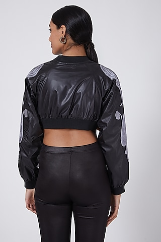 Black Crop Embroidered Bomber Jacket by Ava Designs