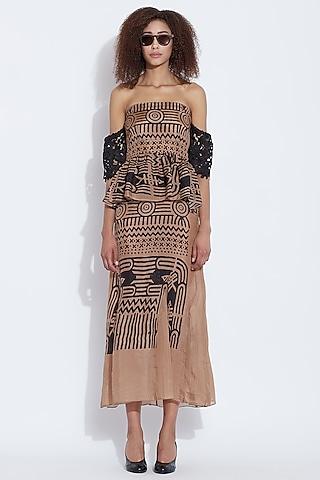 Black & Brown Printed Dress by Aartivijay Gupta