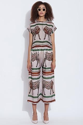 Green & Brown Printed Silk Pants by Aartivijay Gupta