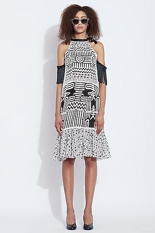Black & White off Shoulder Dress by Aartivijay Gupta