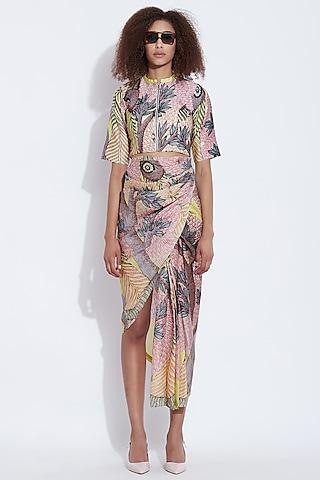 Yellow & Multi Printed Saree Skirt by Aartivijay Gupta
