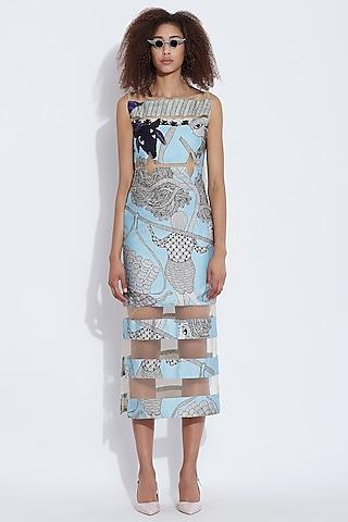 Blue Printed Midi Dress by Aartivijay Gupta