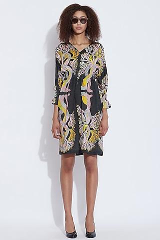 Black & Multi Printed Dress by Aartivijay Gupta