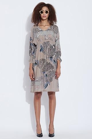 Grey Printed Dress by Aartivijay Gupta