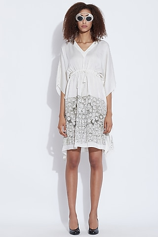 White Printed Dress by Aartivijay Gupta