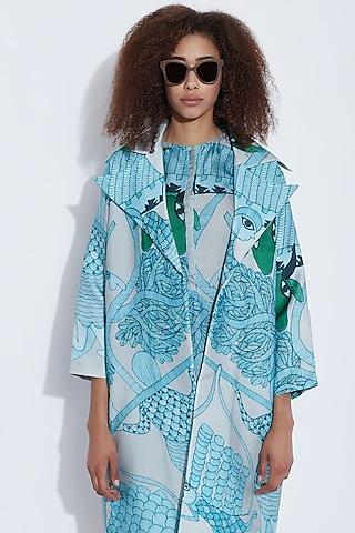 Blue Silk Printed Jacket by Aartivijay Gupta
