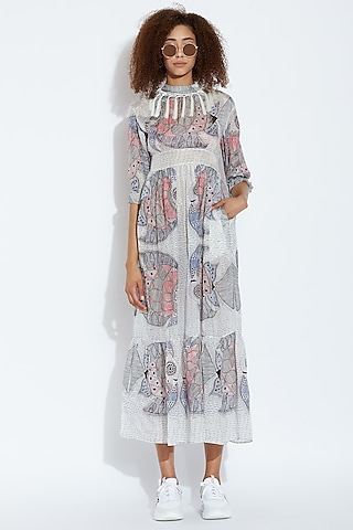 White Fish Printed Dress by Aartivijay Gupta