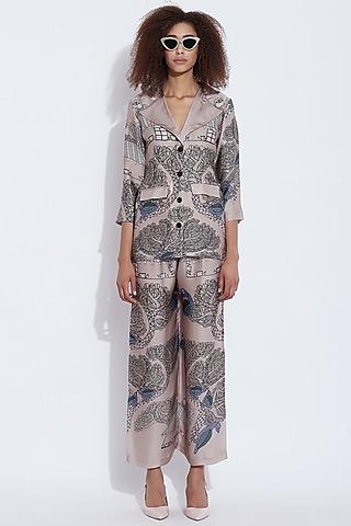 Grey Printed Blazer Top by Aartivijay Gupta