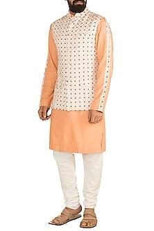 Peach Kurta Set With Off White Printed Nehru Jacket by Ankit V Kapoor
