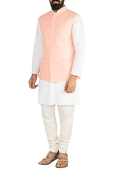 Peach Chikankari Nehru Jacket by Ankit V Kapoor