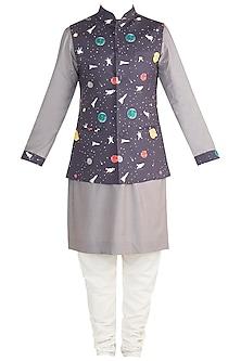 Ash Grey Kurta Set With Space Blue Printed Jacket by Ankit V Kapoor