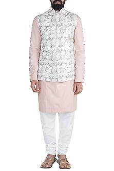 Blush Pink Kurta Set With Printed Nehru Jacket by Ankit V Kapoor