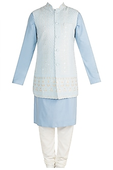 Powder Blue Kurta Set With Chikankari Nehru Jacket by Ankit V Kapoor