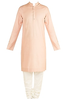 Dusty Rose Printed Kurta Set by Ankit V Kapoor