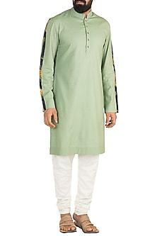 Mint Green Printed Kurta Set by Ankit V Kapoor