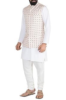 Off White Printed Nehru Jacket by Ankit V Kapoor