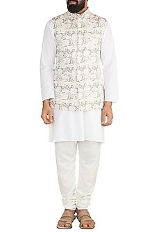 White Printed Nehru Jacket by Ankit V Kapoor