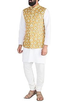 Mustard Printed Nehru Jacket by Ankit V Kapoor