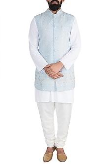 Powder Blue Chikankari Nehru Jacket by Ankit V Kapoor
