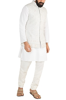 Cool Grey Chikankari Nehru Jacket by Ankit V Kapoor