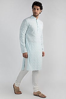Powder Blue Embroidered Kurta Set by Ankit V Kapoor