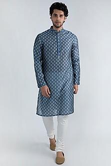 Cobalt Blue Printed Kurta Set by Ankit V Kapoor
