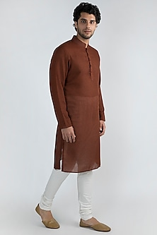 Brick Brown Printed Kurta Set by Ankit V Kapoor