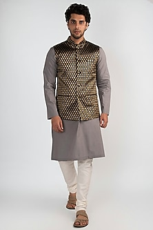 Ash Grey Kurta Set With Jacket  by Ankit V Kapoor