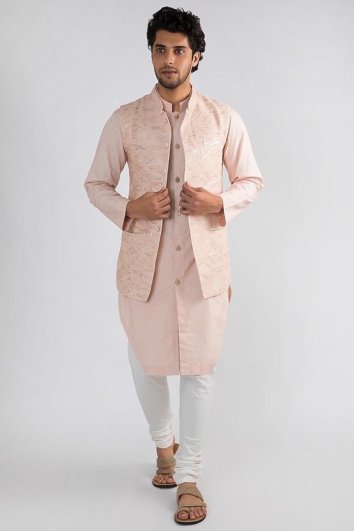 Blush Pink Kurta Set With Jacket by Ankit V Kapoor