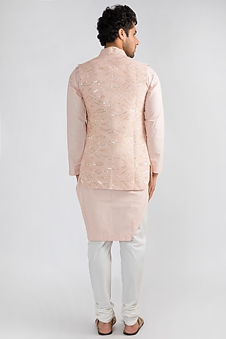 Blush Pink Kurta Set With Jacket by Ankit V Kapoor