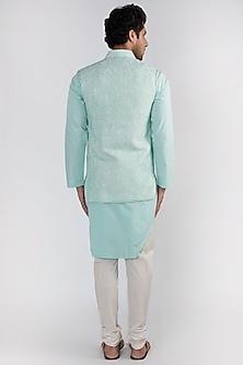 Mint Green Embroidered Kurta Set With Jacket by Ankit V Kapoor