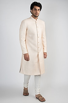 Peach & Champagne Gold Sherwani Set by Ankit V Kapoor