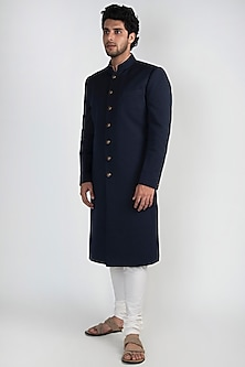 Navy Blue Sherwani Set by Ankit V Kapoor
